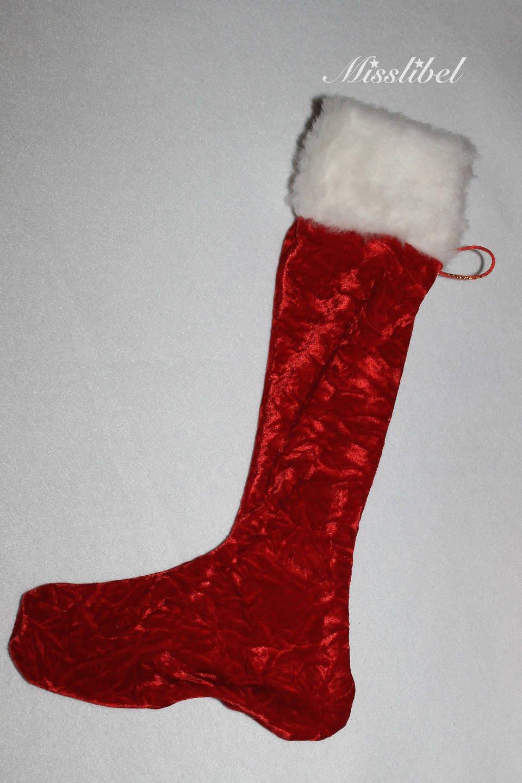 chaussette de noel d co polyester rouge brilliant avec fausse. Black Bedroom Furniture Sets. Home Design Ideas