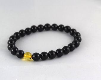 Elastic bracelet onyx and amber Valentine's day