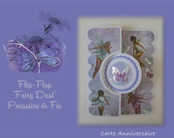 """HB-2017-003 - birthday card """"FlipFlop"""" - """"Winged fairies and butterflies"""""""