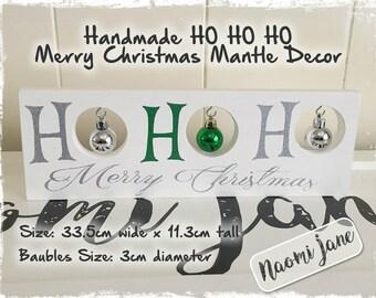 HO HO HO Merry Christmas Mantle Decor