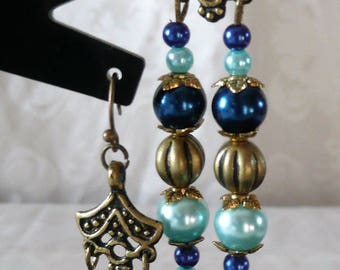 Dangle earrings blue, gold and bronze 7cm
