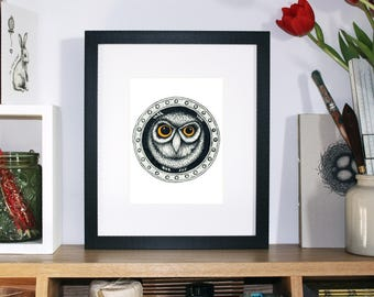 A wide-eyed wise owl print, peaking out of a porthole – fine line pen drawing, signed illustration