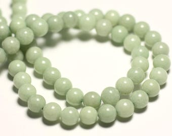 20pc - stone beads - Jade 6mm Green balls light Amande Pastel - 8741140016095