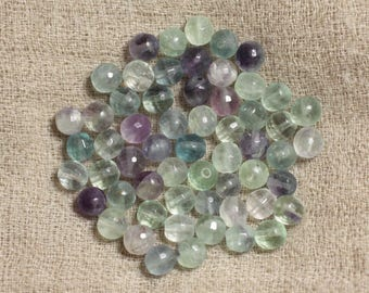 10pc - stone beads - multicolor Fluorite faceted 6mm 4558550037329 balls