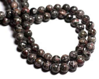 10pc - stone beads - Ocean fossil Jasper black balls 8mm - 8741140000735
