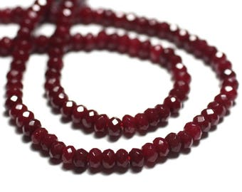 30pc - beads - faceted Rondelle 4x2mm Bordeaux red Jade - stone 8741140022485