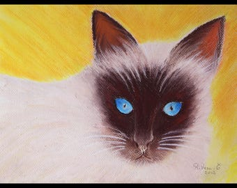 Original ♥♡♥♡♥illustration painted in pastel on paper 300 g/m²petit siamois♥♡♥♡♥