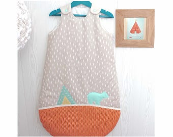 Sleeping bag 1-8 months, nature theme and teepee, beige, green and orange