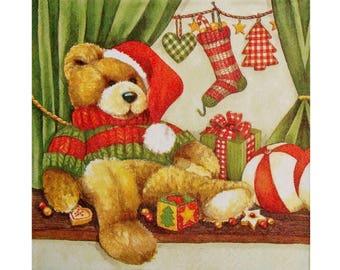 Set of 3 napkins NOE007 bear, Christmas gifts