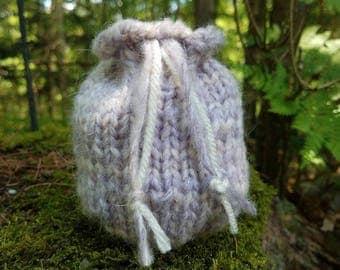Lavender Drawstring Knit Pouch Bag