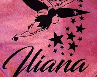Fleece blanket pink baby personalize it with Bell stars flocking velvet + a name