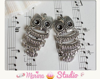2 pendants in hinged silver owls