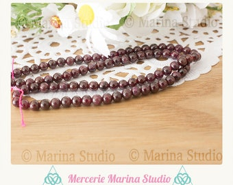 10 pearls garnet natural 4mm - round beads