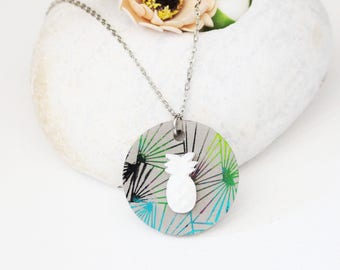 Tropical necklace - pendant concrete - polymer clay pineapple