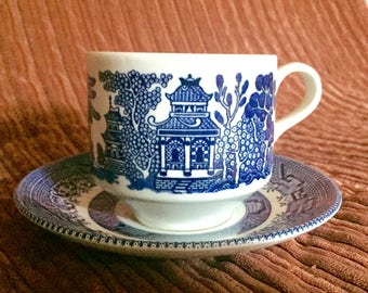 Churchill England Blue Willow Cup and Saucer