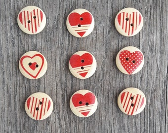 Promo: Set of 9 buttons, wood, 20mm, hearts / / ID N6