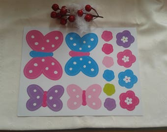 set of 14 large grommets strickers stickers with butterflies, flowers