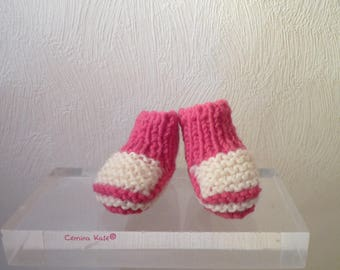 Hand knitted doll, colors Fuchsia and white booties
