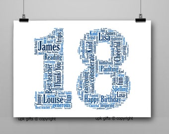 Personalised Gift Printable Word Art Age, 18th Birthday, Anniversary,  Sister, Brother, Wife, Husband Any Age Available 1, 13,16,18,30,40,50