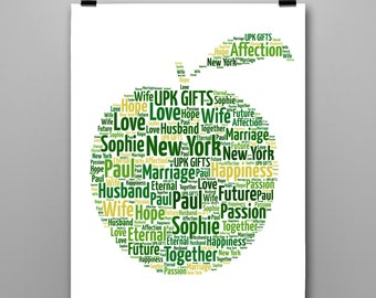 Personalised Gift Printable Word Art New York Apple,  Birthday, Anniversary, Engagement, Sister, Brother, Wife, Husband
