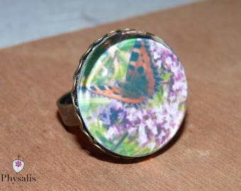 """Ring cabochon 22 mm glass photo """"turtle small butterfly on Marjoram"""""""