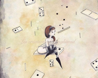 "Original watercolor painting: ""Lady dominoes"""