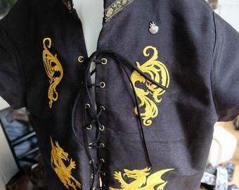 Chemise tunique enfant médiévale fantastique, avec broderies