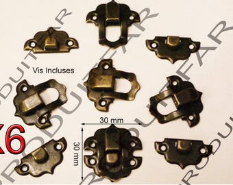 Set of 6 clasps Bronze latch lock box treasure chest box 30 by 30 mm screw included
