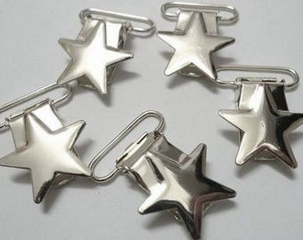 Silver Star pacifier clip
