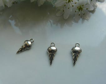 x 2 silver ice pendant charms