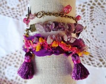 Bracelet 3 rows, Bohemian bracelet Amethyst and silk, Boho bracelet, Bohemian bracelet