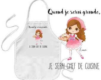 """COOKING apron child """"when I grow..."""" PERSONALIZE"""