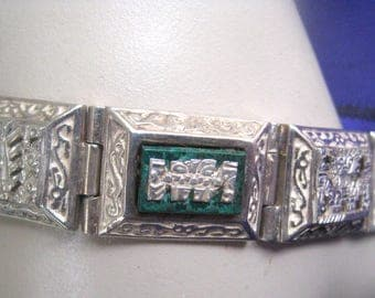 Peruvian silver bracelet 925 with Crysocolla