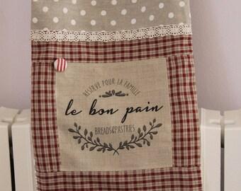 BREAD bag /BAGUETTE linen - button - lace