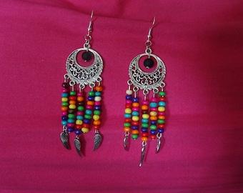 Earrings dangle, long Bohemian style
