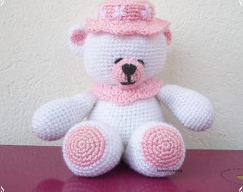 Pink Teddy bear crocheted hat and white wool