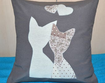 Cushion cover. Cats love embroidery. For pillow 40 / 40cm