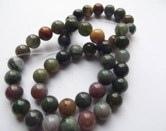 Indian agate multicolor 8 mm VYANA 201 46 smooth round beads
