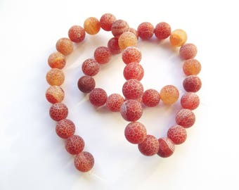 39 frosted agate beads 10 mm
