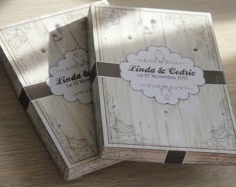 30 box personalized rustic invitation