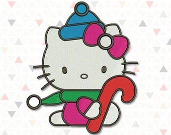 WINTER HELLO KITTY Machine Embroidery Design. Hello Kitty design. Digital embroidery for children. Cat. Kitty. 4 sizes