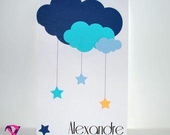 Cloud theme boy birth announcement