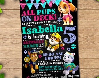 Paw patrol invitation, paw patrol girl, paw patrol birthday for girl, paw patrol invites,