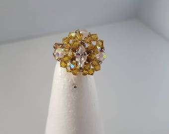 Bohemian 4 beads and Swarovski Crystal ring