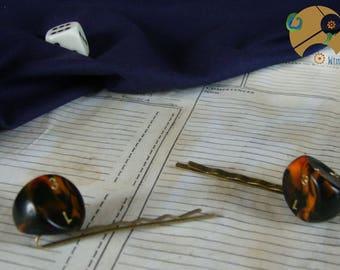 hairpins of playing geek bronze black orange role-playing made handmade bobby pins 3 sided black orange roleplaying dice game handmade