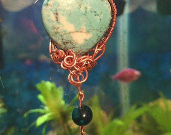 Wire Wrapped, Turquoise heart, Pendent with copper chain!!