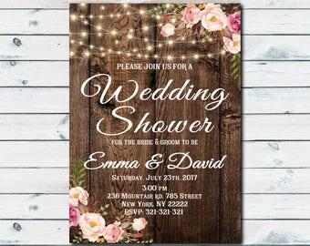 Boho wedding shower invitation, rustic floral wedding shower invite, boho wedding shower invite, boho wedding party shower invitation 1048