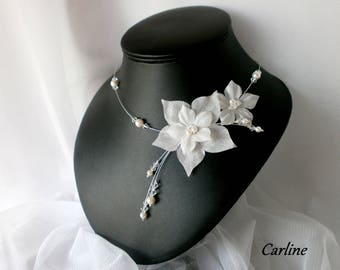 Wedding necklace * Zélie * white Swarovski Crystal white silk flowers
