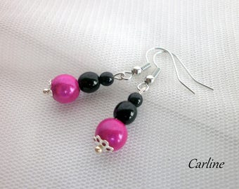 Stud Earrings ♥ wedding beads Fuchsia black