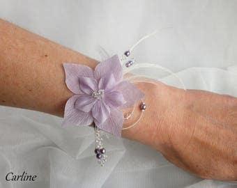 Nude crystal feathers - Parma Violet flowers silk beads Swarovski crystal clear Bracelet